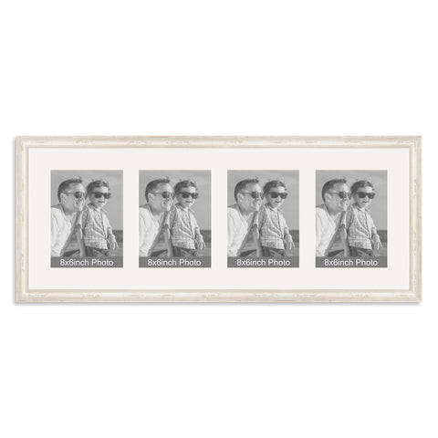 White Shabby Chic Multi-Aperture Frame for four 8x6/6x8in Photos