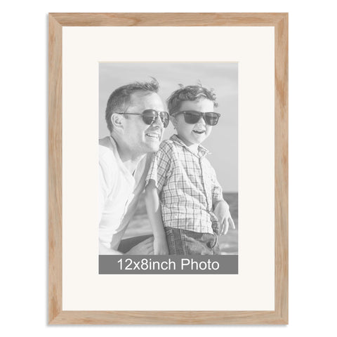 Solid Oak Wooden Photo Frame for a 12x8/8x12in Photo