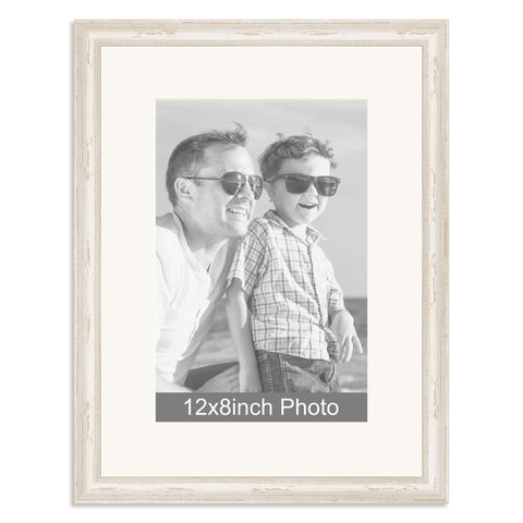 White Shabby Chic Wooden Photo Frame for a 12x8/8x12in Photo