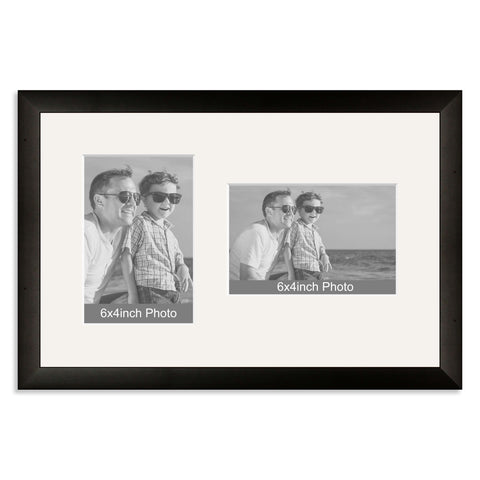 Black Wooden Multi Aperture Frame for two 6x4/4x6in photos (one portrait/one landscape)