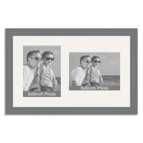 Grey Wooden Multi Aperture Frame for two 8x6/6x8in photos (one portrait/one landscape)
