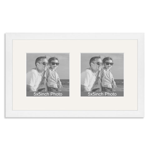 White Wooden Multi Aperture Frame for two 5x5in photos