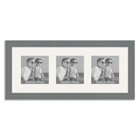 Grey wooden Multi Aperture Frame for three 5x5in photos