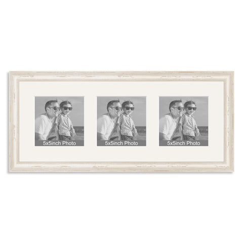 White Shabby Chic wooden Multi Aperture Frame for three 5x5in photos