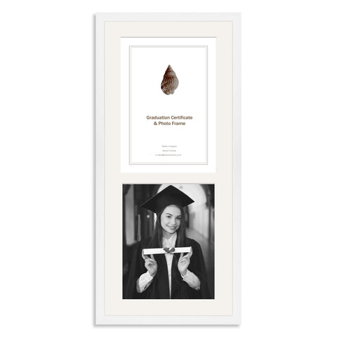 White Wooden Graduation Frame for A4 Certificate and 10x8/8x10in Photo