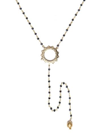 V Sri Yantra Black Onyx Necklace with Long Sri Yantra Ball Drop