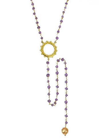 V Sri Yantra Amethyst Beaded Necklace with Long Sri Yantra Ball Drop