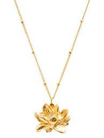 Lotus CROWN Chakra Charm Necklace in Vermeil