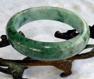 """China's Favorite"" Good Green Burmese Jadeite Grade A Jade Bangle Bracelet 58.5mm+Certificate (3119)"
