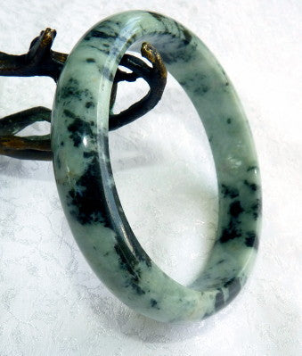 """Peace and Courage""  Burmese Jadeite Bangle Bracelet Grade A 63mm + Certificate (4985)"