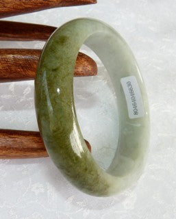 """Dao Balancing"" Yin and Yang Green Jadeite Jade Grade A Bangle Bracelet 56mm + Certificate ( 630)"