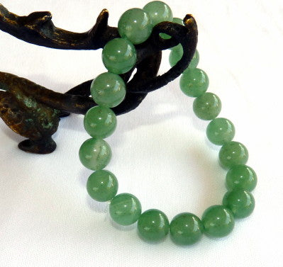 Classic Green Jade Bead Stretch Bracelet