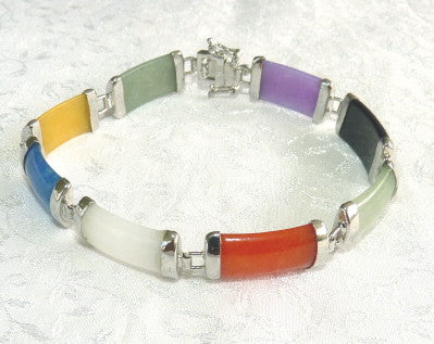 """Colors of Jade"" Multi Color Jade and Silver Bracelet 8"""