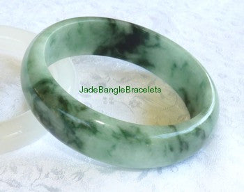 """Chinese Calligraphy Pattern"" Burmese Jadeite Bangle Bracelet 58mm  (JBB3136)"