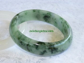 """Dragon Green Veins"" Jadeite Jade Bangle Bracelet 58mm (JBB3137)"