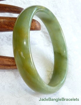 Earthy Green and Honey Natural Color  Chinese Jade Bangle Bracelet 60mm (JBB3152)