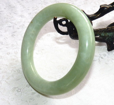 """Happy and Healthy"" Chinese Jade Classic Round Bangle Bracelet 60mm (JBB-3367)"