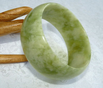 "-""Precious Earth"" Wide Cuff Chinese Jade Bangle Bracelet 60mm (JBB3311)"