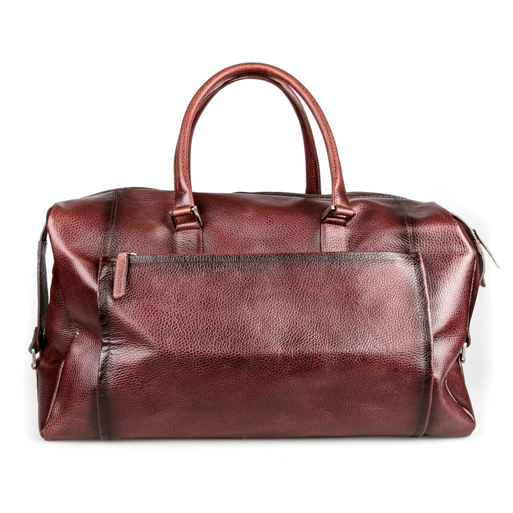 Fendrihan Pebbled Leather Travel Bag, Brandy Leather Briefcase Fendrihan