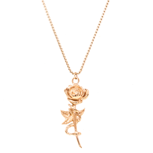 Chained Rose Necklace Rose Gold