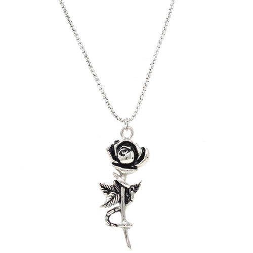 Chained Rose Necklace Silver