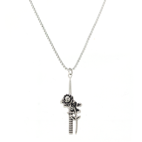 Rose Dagger Necklace - Silver