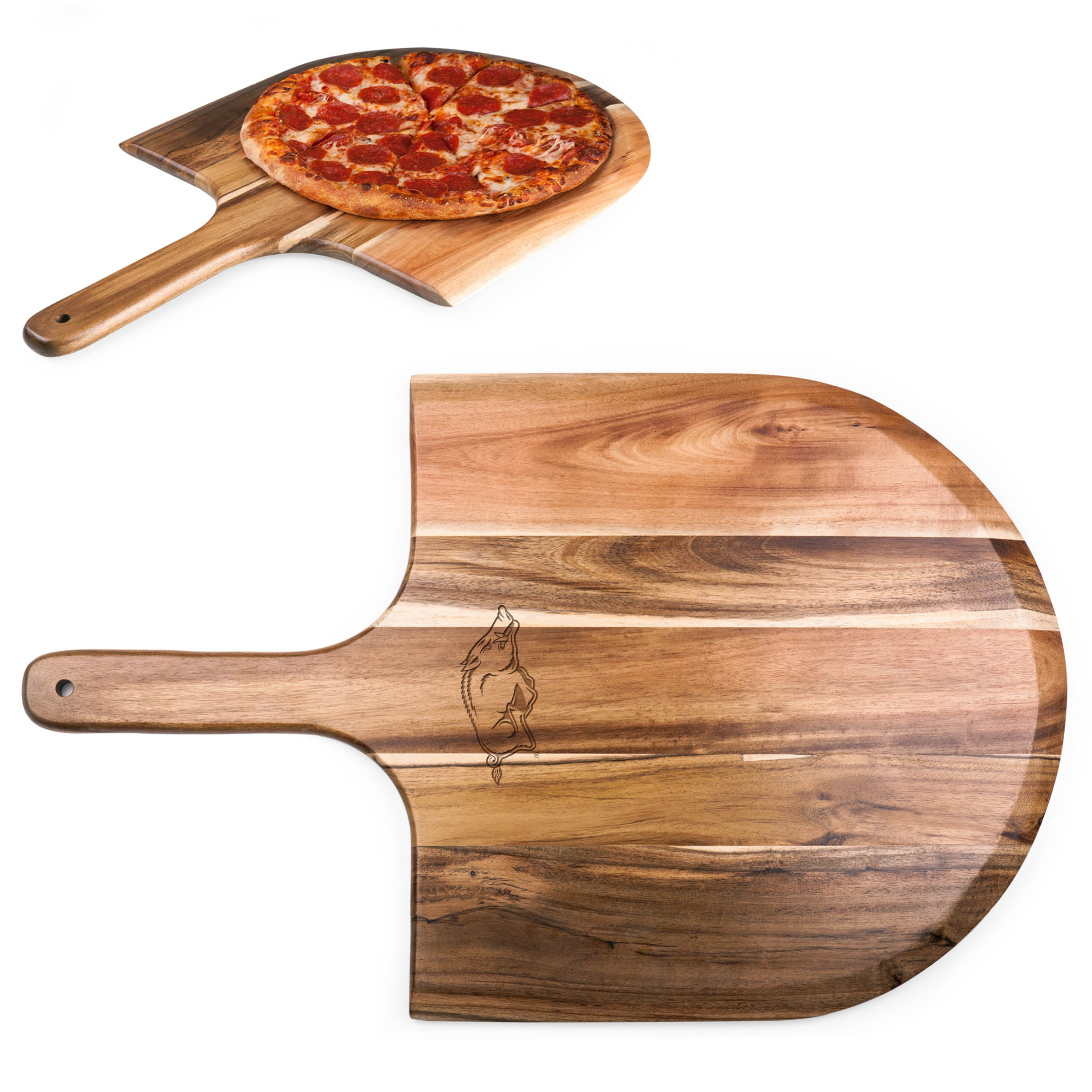 Arkansas Razorbacks 'Acacia Pizza Peel' Serving Paddle-Natural Wood Laser Engraving