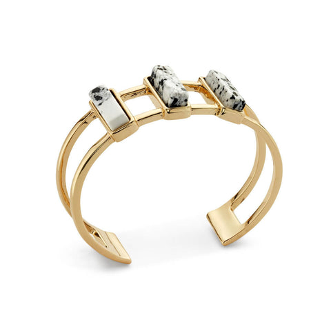 Cheap Wide Double Layered Gold Stone Cuff Bracelet | 7 Charming Sisters