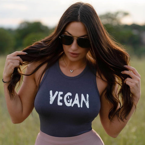FTLA Apparel ~ For The Love of Animals Apparel:  Crop Top - eco-HYBRID™ Jersey Fitted + Cropped Muscle Tank Vegan Sprout