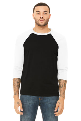 FTLA Apparel ~ For The Love of Animals Apparel:  Unisex BaseBall Tee - Black and White Unisex Adult Baseball Tee