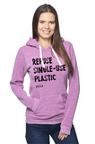 FTLA Apparel ~ For The Love of Animals Apparel:  Unisex Sweatshirts - Unisex Eco Purple Organic RPET Fleece Pullover Hoody - REFUSE SINGLE-USE PLASTIC - XS-2XL