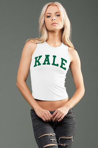 FTLA Apparel ~ For The Love of Animals Apparel:  Crop Top - KALE White eco-HYBRID Jersey Fitted + Cropped Muscle Tank