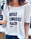 White Off The Shoulder Relaxed Pullover - Refuse Single-Use Plastic - SM-2XL
