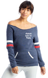 FTLA Apparel ~ For The Love of Animals Apparel:  Off The Shoulder Sweatshirt - Animals Make Me Happy Eco Navy Stripes Eco Fleece Off the Shoulder Sweatshirt