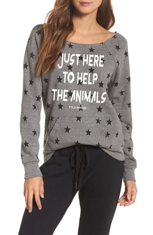 FTLA Apparel ~ For The Love of Animals Apparel:  Off The Shoulder Sweatshirt - Just Here To Help The Animals Eco Grey Stars Eco Fleece Off the Shoulder Sweatshirt