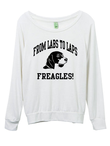 FTLA Apparel ~ For The Love of Animals Apparel:  Off The Shoulder Pullover - Beagle Freedom Project - From Labs To Laps FREAGLES - Eco Jersey Eco Ivory Slouchy Pullover