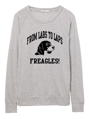 FTLA Apparel ~ For The Love of Animals Apparel:  Off The Shoulder Pullover - Beagle Freedom Project From Labs To Laps FREAGLES - Eco Jersey Eco Oatmeal Slouchy Pullover