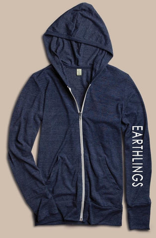 FTLA Apparel ~ For The Love of Animals Apparel:  Unisex Lightweight Sweatshirt - EARTHLINGS Unisex Eco Jersey True Navy Hooded Zip Up Sweatshirt - MAKE THE CONNECTION