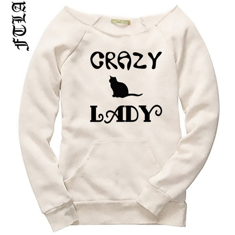 FTLA Apparel ~ For The Love of Animals Apparel:  Off The Shoulder Sweatshirt - Off the Shoulder Eco Wheat Eco Fleece Sweatshirt - Crazy Cat Lady