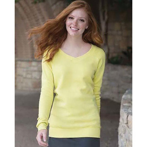 FTLA Apparel ~ For The Love of Animals Apparel:  Eco Fleece Sweatshirt - READY TO SHIP SALE SIZE LG YELLOW V-Neck Fleece Sweatshirt - BLANK