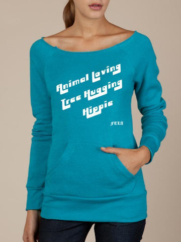 FTLA Apparel ~ For The Love of Animals Apparel:  Eco Fleece Off The Shoulder Sweatshirt - READY TO SHIP SALE SIZE MEDIUM Eco True Teal Eco Fleece Off the Shoulder Sweatshirt – Animal Loving Tree Hugging Hippie