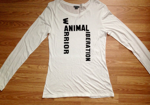 FTLA Apparel ~ For The Love of Animals Apparel:  Long Sleeve - READY TO SHIP SALE SIZE XL WHITE eco-HYBRID™ Micro Jersey Long Sleeve Tee - ANIMAL LIBERATION WARRIOR