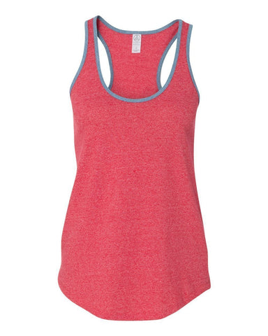 FTLA Apparel ~ For The Love of Animals Apparel:  Tank Top - READY TO SHIP SIZE SMALL Eco Mock Engine Red RINGER RACER BACK TANK TOP - BLANK