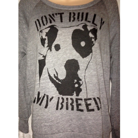 FTLA Apparel ~ For The Love of Animals Apparel:  Off The Shoulder Pullover - READY TO SHIP SIZE XL Eco Grey Off The Shoulder Eco-Jersey Slouchy Pullover - Don't Bully My Breed