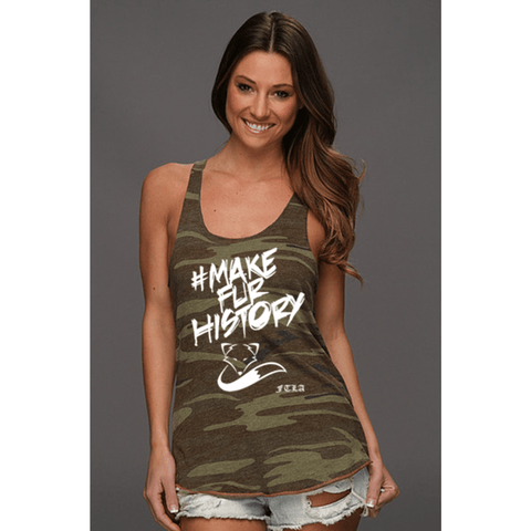 FTLA Apparel ~ For The Love of Animals Apparel:  Tank Top - SALE READY TO SHIP - SIZE LARGE #MakeFurHistory FTLA Apparel Eco Jersey Camo Racerback Tank Top