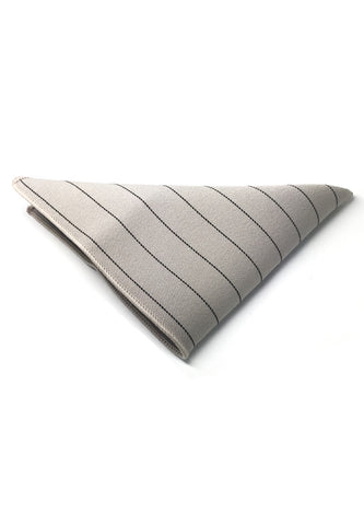 Bars Series Thin Black Stripes Greyish White Cotton Pocket Square