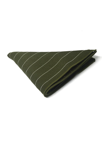 Bars Series Thin White Stripes Army Green Cotton Pocket Square