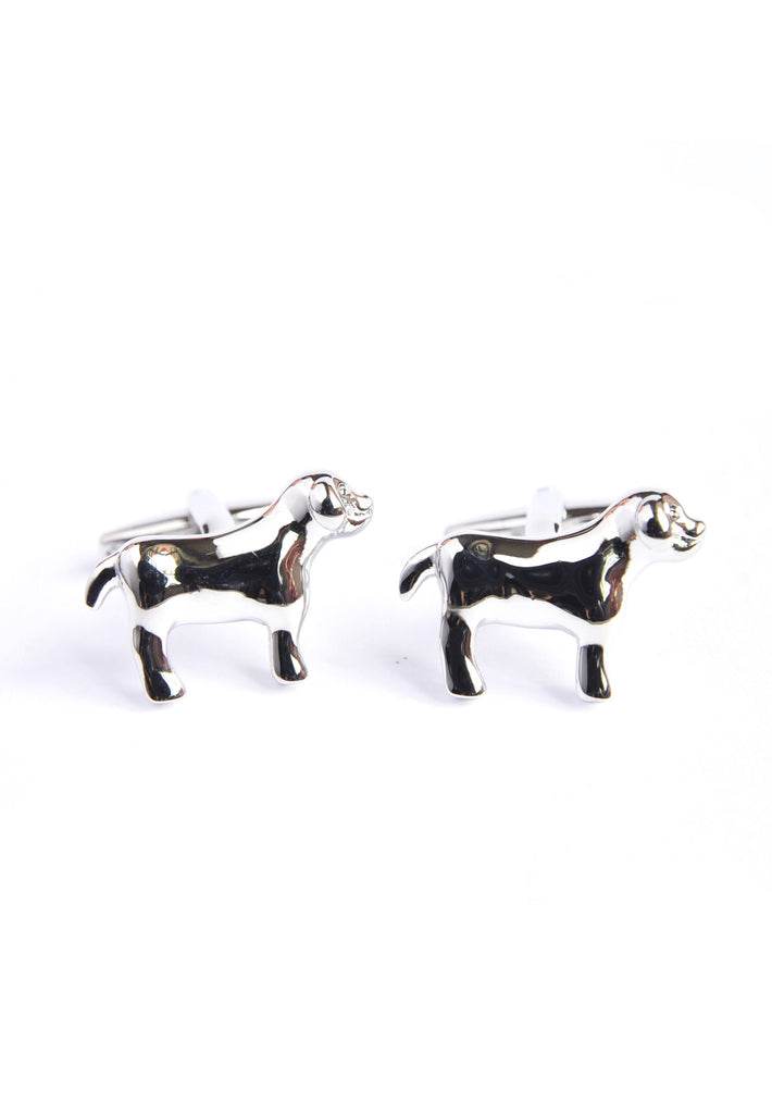 Rhodium Plated Dog Shaped Cufflinks