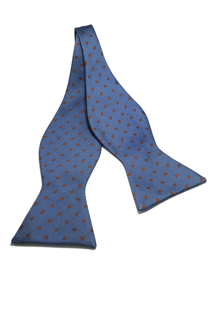 Manual Series Orange Polka Dots Light Blue Self-tied Man Made Silk Bow Tie