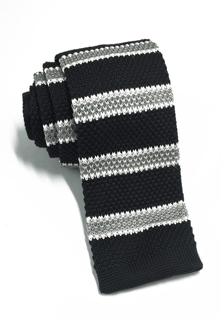 Purl Series Grey & White Stripes Black Knitted Tie